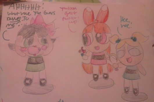 Blossom and Bubbles give Buttercup a makeover  by davelovergirlsonic