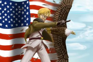 America and Bald Eagle by Pink-Shimmer