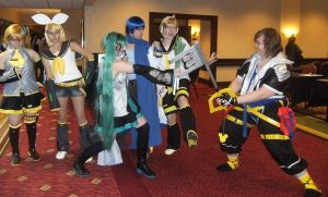 Sora Fights the Vocaloids by SpellboundFox