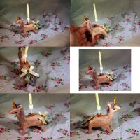 Pink and pastel unicorn candle holder by TheUnicornLand