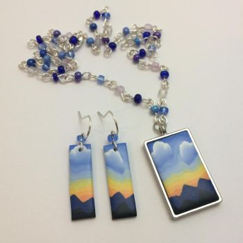 Mountain Sunset Art Jewelry Set by noellewis