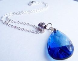 Christmas Blue Teardrop Neckla by ms-pen