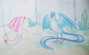Articuno and Mesprit by sapphireluna