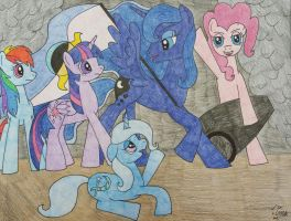 Luna Leading the Ponies by Oceanblue-Art