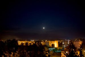 Moon, Jupiter and city by czach