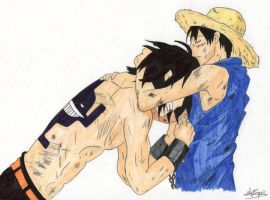 Luffy and Ace by Chromulee