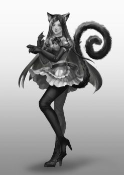 [Grayscale] CAT GIRL by pangnim