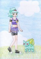 Emma with Bulbasaur for izka197 by NormaLeeInsane