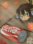 Chibi Cola Playing With Coca Cola Can by Chibi-Cola-SkyWolf62