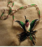 Ruby-Throat Beaded Hummingbird by StarDapple
