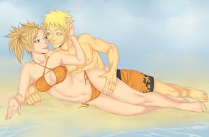 Naruto and Temari by LinART