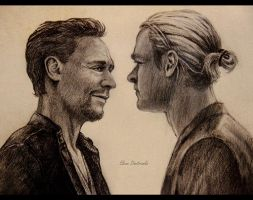 Tom Hiddleston and Chris Hemsworth by MeduZZa13