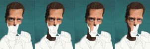 Dr House Caricature WIP stages by SamBrownArt