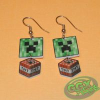 Minecraft Creeper and Dynamite Earrings by GmrGirlX