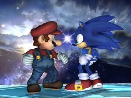 Mario Vs Sonic by raccoon-ninja