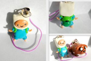 Adventure Time Finn and Jake Charms by FatCatCharms