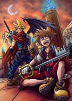 Kingdom Hearts Fanart Sora and Cloud by Carlotus