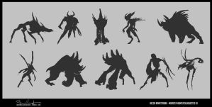 Monster Silhouettes - 01 by Baelgrave