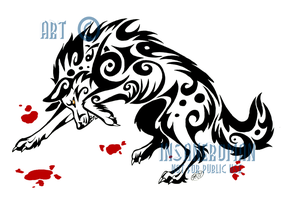 Fierce Wolf Tribal Design -- LICENSE AVAILABLE by InsaneRoman