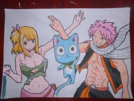 NaLu with Happy (FINISHED) by master-cartoonist