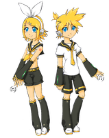 Len and Rin Kagamine -colored by ZeroMidnight