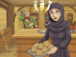 Baking Sweetrolls by LMColver