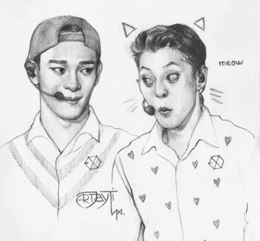 Chen and Xiumin. MEOW by ArtJayTi