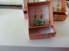 Origami Rose Earrings!! II Closeup on green by Vi-Taunt-Me