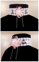 Pink Ribbon and Roses Choker by Koreena