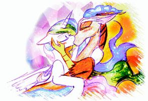 Celestia and Discord - Kiss by iMarieU