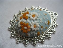 Orange Sun Pendant by LenaHandmadeJewelry