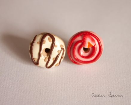 Mismatched Donut Earrings - Nuts and Strawberry by MaverickMae