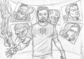 SKETCH TONY STARK AND FRIENDS by studioquimera