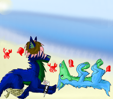 Fell and Larka at the beach by puddathere