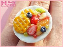 Ring by Dolly House - Waffles and Fruits - by SweetDollyHouse