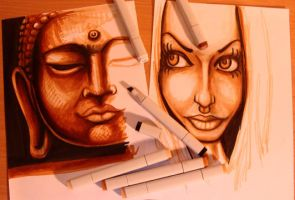 The Copic Buddha and the Girl by kshandor