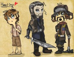 The Hobbit- Bilbo, Thorin and Bofur by ForgetMorals