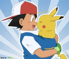 Ash and Pikachu by PPGirl16