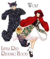Pullip LRRH and Namu Wolf by Fidjie