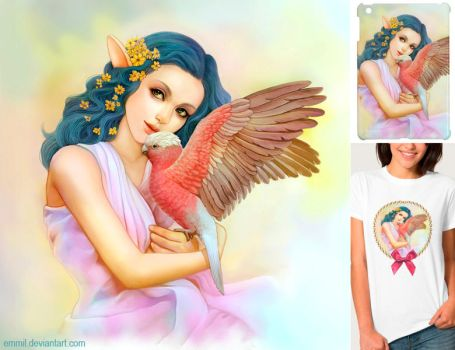 Blue haired elf and her galah by emmil