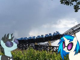 Neon Lights and Vinyl Scratch in Heide Park by Phi1997