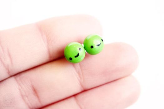 Pea Studs Polymer Clay by kukishop