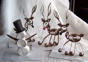 Paper Quilled Snowman, Reindeer by UrSoMaC