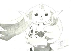 Guilmon and Terriermon drawing by Crimson-Flazey