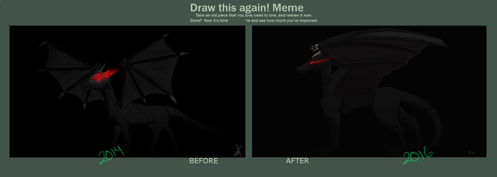 Before and After: Dragon by AriMe19