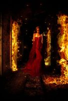 Red woman in flames by Angel-Creations95