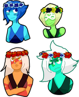 .:Homeworld Trio - Flower Crown Stickers:. by ImperfectImposter