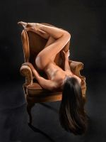 8188-NL Beautiful Woman Dancer Nude on Chair by artonline