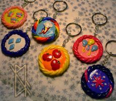 MLP Cutie Mark Keychain - Mane Six by leiko