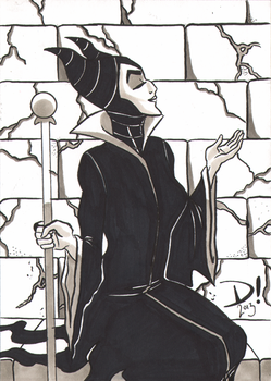2013 Christmas Sketch Cards: Maleficent by spidertour02